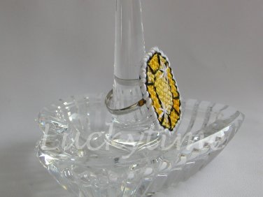Yellow Gem Gemstone Plastic Canvas Ring