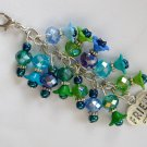 Friend BFF Zipper Purse Charm Blue Aqua Green Flower Bead