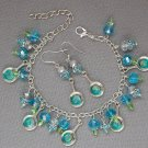 Frying Pan Charm Aqua Blue Crystal Bead Bracelet Earrings Set