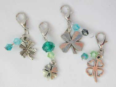 Lucky Four Leaf Clover Zipper Purse Charm Crystal Bead Set