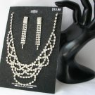 NWT Clear Rhinestone Swag Princess Necklace and Earrings Set