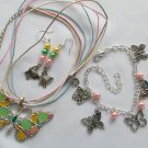 Enamel Butterfly Pink Green Yellow Pendant Necklace and Charm Earrings