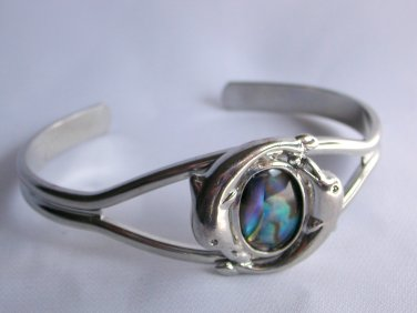 Vintage dolphin iridescent abalone silver tone cuff bracelet