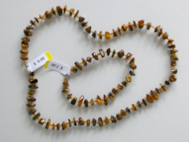 Vintage Tigers Eye polished chip nugget stone seed bead necklace and bracelet set