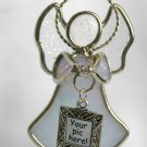 Stained Glass Ganz Pale Blue Angel Ornament Sun Catcher Picture Frame Charm