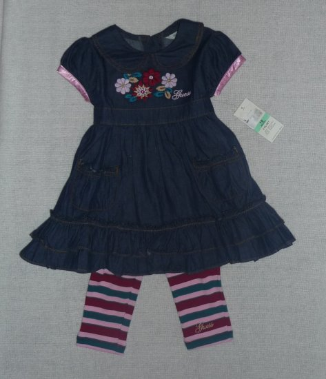 Guess Baby Girls 2 piece Set Denim Dress & Leggings 18 mo. NWT