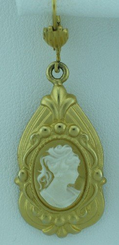 Beautiful Gilt Cameo French Hook Earrings Ear2096