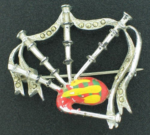 Vintage Bagpipe Brooch with Marcasites Signed Made in England Bro2175