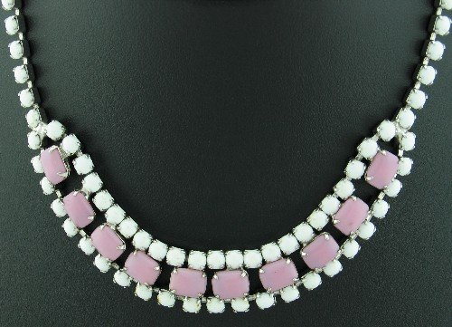Vintage Coro Round Milkglass and Pink Emerald Cut Cabochon Necklace Nec2084
