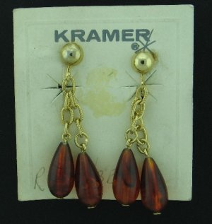 Kramer Rootbeer Dual Dangle Lucite Earring on Original Card Ear2051