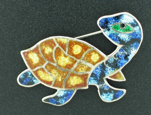 925 Mexico Enameled Turtle Brooch BCBRO1014