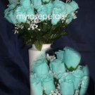 84 Silk Rose Flowers with Raindrops-Wedding Roses Flowers - Aqua