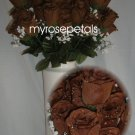 84 Silk Rose Flowers with Raindrops-Wedding Roses Flowers - Brown
