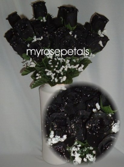 84 Silk Rose Flowers with Raindrops-Wedding Roses Flowers - Black