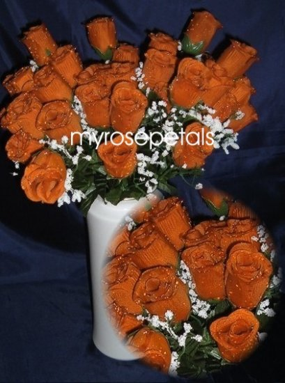 84 Silk Rose Flowers with Raindrops-Wedding Roses Flowers - Deep Orange
