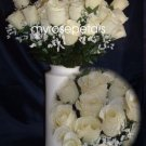 84 Silk Rose Flowers with Raindrops-Wedding Roses Flowers - Ivory