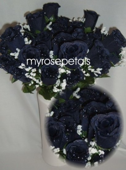 84 Silk Rose Flowers with Raindrops-Wedding Roses Flowers - Navy Blue