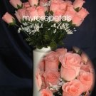 84 Silk Rose Flowers with Raindrops-Wedding Roses Flowers - Peach