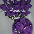 84 Silk Rose Flowers with Raindrops-Wedding Roses Flowers - Purple