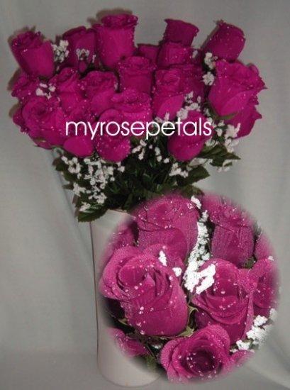 84 Silk Rose Flowers with Raindrops-Wedding Roses Flowers - Raspberry