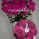 84 Silk Rose Flowers with Raindrops-Wedding Roses Flowers - Raspberry