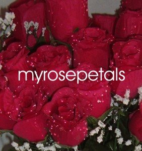84 Silk Rose Flowers with Raindrops-Wedding Roses Flowers - Red
