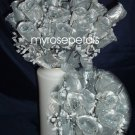 84 Silk Rose Flowers with Raindrops-Wedding Roses Flowers - Silver