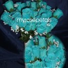 84 Silk Rose Flowers with Raindrops-Wedding Roses Flowers - Turquoise