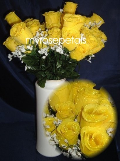 84 Silk Rose Flowers with Raindrops-Wedding Roses Flowers - Yellow