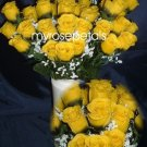 84 Silk Rose Flowers with Raindrops-Wedding Roses Flowers - Black/Yellow