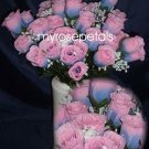 84 Silk Rose Flowers with Raindrops-Wedding Roses Flowers - Blue/Pink