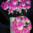 84 Silk Rose Flowers with Raindrops-Wedding Roses Flowers - Ivory/Hot Pink
