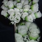 84 Silk Rose Flowers with Raindrops-Wedding Roses Flowers - Lime/White