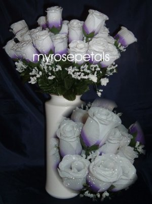 84 Silk Rose Flowers with Raindrops-Wedding Roses Flowers - Purple/White