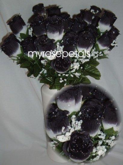 84 Silk Rose Flowers with Raindrops-Wedding Roses Flowers - White/Black