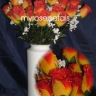 84 Silk Rose Flowers with Raindrops-Wedding Roses Flowers - Yellow/Red