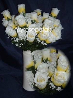 84 Silk Rose Flowers with Raindrops-Wedding Roses Flowers - Yellow/White