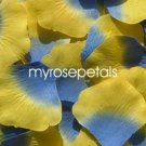 Petals - 1000 Silk Rose Petals Wedding Favors -  Two Tone - Blue/Yellow
