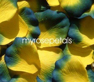 Petals - 1000 Silk Rose Petals Wedding Favors -  Two Tone - Yellow/Royal Blue