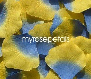 Petals - 200 Silk Rose Petals Wedding Favors -  Two Tone - Blue/Yellow