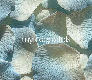 Petals - 200 Silk Rose Petals Wedding Favors -  Two Tone - Ivory/Blue