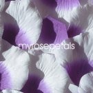 Petals - 200 Silk Rose Petals Wedding Favors -  Two Tone - Purple/White