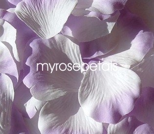 Petals - 200 Silk Rose Petals Wedding Favors -  Two Tone - White/Lavender