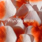 Petals - 200 Silk Rose Petals Wedding Favors -  Two Tone - White/Orange