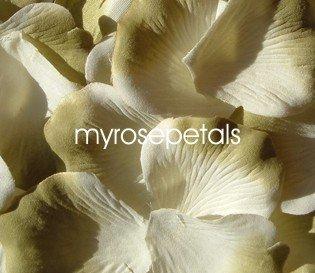 Petals - 200 Silk Rose Petals Wedding Favors -  Two Tone - White/Sage