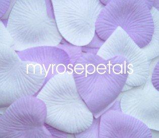 Petals - 1000 Heart Wedding Silk Rose Flower Petals Wedding Favors - Lavender & White