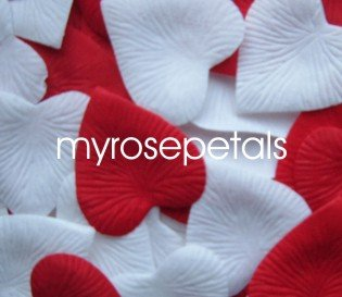 Petals - 1000 Heart Wedding Silk Rose Flower Petals Wedding Favors - White & Red