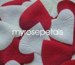 Petals - 200 Heart Wedding Silk Rose Flower Petals Wedding Favors - Ivory & Red