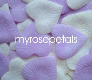 Petals - 200 Heart Wedding Silk Rose Flower Petals Wedding Favors - Lavender & Ivory