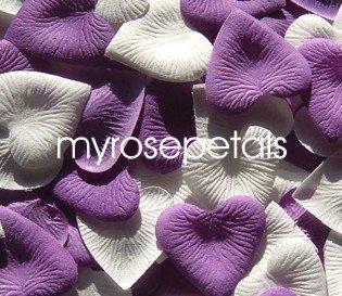 Petals - 200 Heart Wedding Silk Rose Flower Petals Wedding Favors - Purple & White